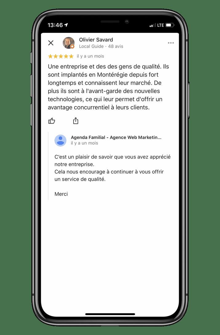 Service de gestion d'avis Google